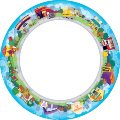 Around Town - 24pc Circle Jigsaw Puzzle by Masterpieces