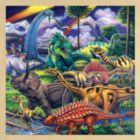 Dinosaur Friends with Fun Facts - 48pc Wooden Tray Puzzle by Masterpieces