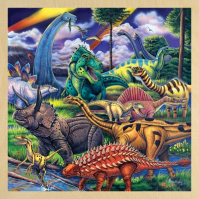 Dinosaur Friends with Fun Facts - 48pc Wooden Tray Puzzle For Kids by Masterpieces