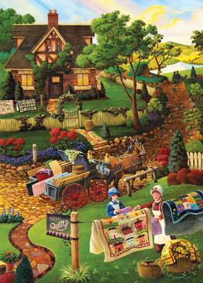 Worlds Smallest: Country Fabrics - 1000pc Jigsaw Puzzle in Tin by Masterpieces