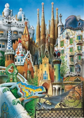 Collage Gaudi - 1000pc Miniature Jigsaw Puzzle by Educa