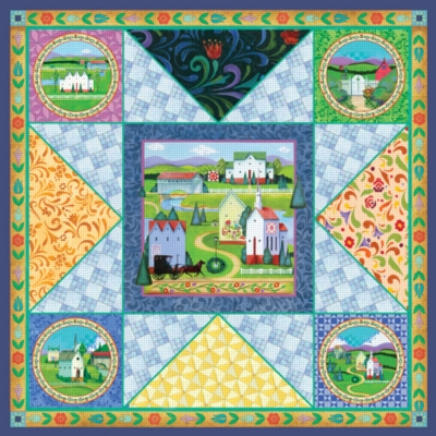 Village Quilt - 750pc Jigsaw Puzzle by Great American Puzzle Factory
