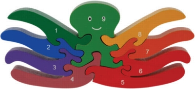 Count Octopus - 9pc Eco-Friendly Wooden Jigsaw Puzzle by ImagiPLAY