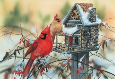 Cardinal's Rustic Retreat - 500pc Jigsaw Puzzle by Sunsout