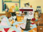Quilting For Kittens - 500pc Jigsaw Puzzle by Sunsout