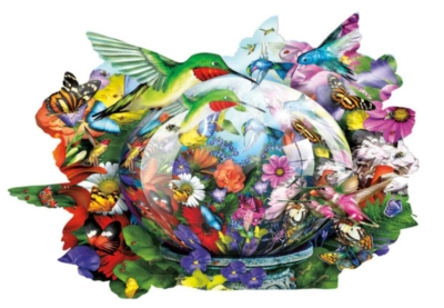 Hummingbird Reflections - 600pc Shaped Jigsaw Puzzle by Sunsout