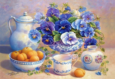 Apricot and Blue Pansies - 500pc Jigsaw Puzzle by Castorland