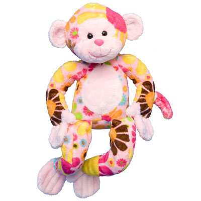 "Zelda Pink Flower Monkey - 11"" Monkey by Douglas Cuddle Toy"