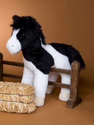 "Valiant Black/White Paint Horse - 9"" Horse By Douglas Cuddle Toy"