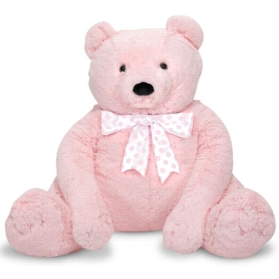 "Jumbo Pink Teddy Bear - 30"" High, Sitting Plush Bear by Melissa & Doug"