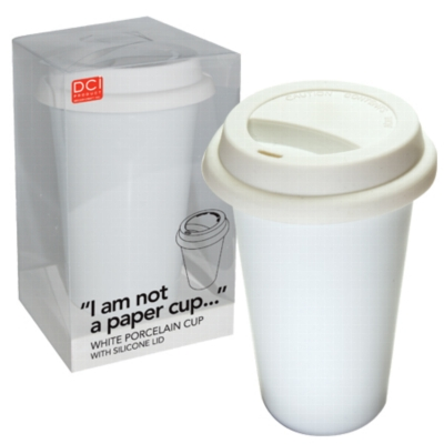"&quotI Am Not A Paper Cup"" - Thermal Double Walled Porcelain Cup w/ Silicone Lid"