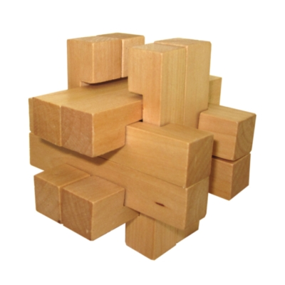 Maple Cross - Wooden Interlocking Puzzle w/Marble