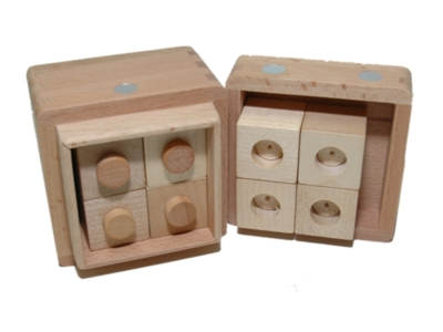 Wood Puzzles - Cube w/ Holes & Pins