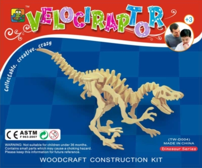 Velociraptor - 51pc Wooden 3D Dinosaur Assembly Puzzle