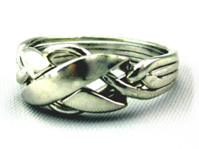 Showcase X - Unisex 4 Band Sterling Silver Puzzle Ring