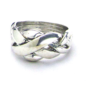 X Encasement - Mens 4 Band Sterling Silver Puzzle Ring