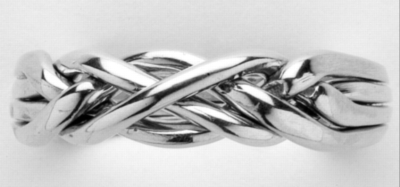 Slim Crossover - Ladies 4 Band Sterling Silver Puzzle Ring