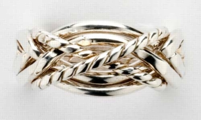 Twisted - Ladies 6 Band Sterling Silver Puzzle Ring
