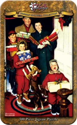Norman Rockwell: Merry Christmas Grandma, We Came In Our New Plymouth - 500pc Jigsaw Puzzle in a Tin by Serendipity
