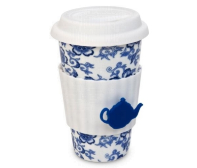 Eco Cup Tea Lovers Blue - Porcelain Cup w/ Silicone Lid