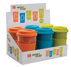 Eco Cup Color Edition - Porcelain Cup w/ Silicone Lid - Assorted Case of 6