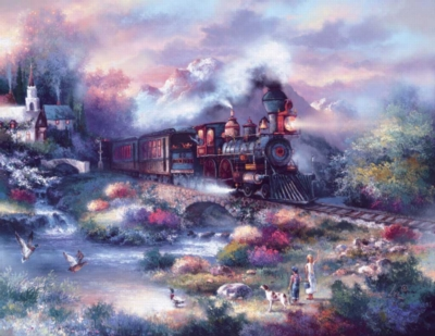 Spring Creek Express - 1000pc Large Format Jigsaw Puzzle By Sunsout