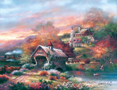 Old Mill Creek - 1000pc Large Format Jigsaw Puzzle By Sunsout