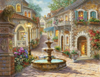 Cobblestone Fountain - 1000pc Large Format Jigsaw Puzzle By Sunsout