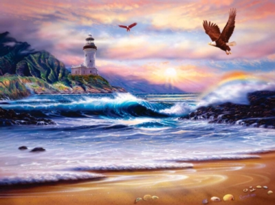 Rainbow Lighthouse - 1000pc Jigsaw Puzzle By Sunsout