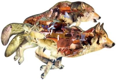 Wolf on the Run - 1000pc Shaped Jigsaw Puzzle By Sunsout