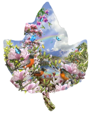 Signs of Spring - 1000pc Shaped Jigsaw Puzzle By Sunsout