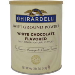 Ghirardelli Sweet Ground White Chocolate Powder - 3.12 lb. Can Case